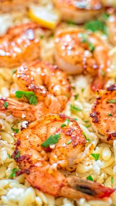 Very easy to make, yet unbelievably delicious, this One Pot Orzo with Shrimp and Feta is worthy of a special occasion!COM (Butter Shrimp Families) Seafood Recipes, Pasta Recipes, Chicken Recipes, Dinner Recipes, Cooking Recipes, Healthy Recipes, Recipes With Shrimp, Flour Recipes, Holiday Recipes