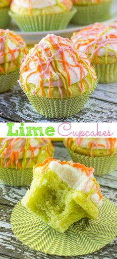 Lime Cupcakes with vanilla buttercream frosting and drizzled with colorful candy melts!