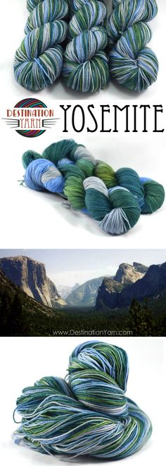 . This colorway captures this stunning place with deep pine & bright grass greens, against the blue/gray of Half Dome and El Capitan in the distance. Hand-dyed, fingering/sock weight yarn for knitting, crochet, and DIY crafts.