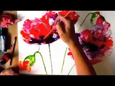 """Watercolour poppies... it's crazy how many times she lifts the paint off the paper and you're like """"NO, what are you doing?!"""" and then puts other things back on to fill the space that work really well."""