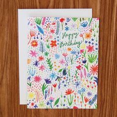Happy Birthday Rainbow Garden Card by Happy Cactus