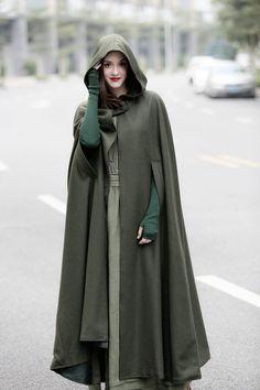 maxi hooded wool coat cloak, maxi cashmere cape, hooded cape, wool hooded cloak in green, black, grey, long wool jacket, coat dress, winter by camelliatune on Etsy https://www.etsy.com/listing/467449458/maxi-hooded-wool-coat-cloak-maxi