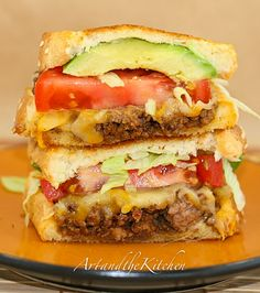 Taco Beef Grilled Cheese Sandwich - fully loaded grilled cheese sandwich