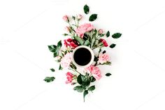 #Floral composition with coffee mug  Cup of coffee with pink roses and flowers. Flat lay composition for bloggers magazines web designers social media and artists. This purchase includes one high resolution horizontal digital image. Image is a sRBG jpg and is approximately 6230x4153 pixels. License terms: http://ift.tt/1W9AIer