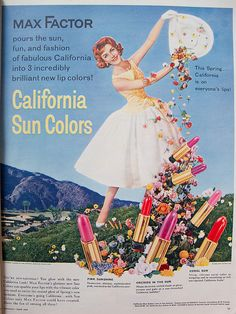 Retro Makeup Max Factor ad, The right shade of lipstick is the perfect finishing touch! - Ad in Seventeen magazine, April Vintage Makeup Ads, Retro Makeup, Vintage Beauty, Vintage Ads, Vintage Fashion, Vintage Clothing, Vintage Designs, Vintage Items, Retro Advertising