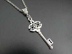 Gothic Necklace Skeleton Key Wedding Bride Bridal Groom by skaior, $24.00