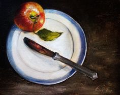 Original Oil Painting by Nina R.Aide Still Life with Apple. $55.00, via Etsy.