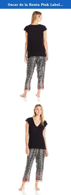 Oscar de la Renta Pink Label Women's Charmeuse Crop Pajama, Black Monarch Border Print, Small. Feminine and chic, the knit top and charmeuse crop pant pajama set is irresistible in every way.
