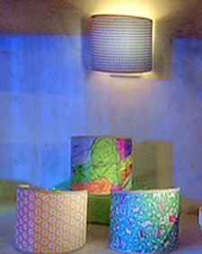 lamp shade made with half inch torn strips of material. Black Bedroom Furniture Sets. Home Design Ideas