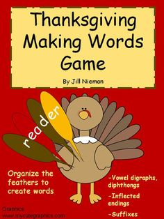This fun word work game encourages students to make words in a fun and hands-on way. Includes vowel patterns (cvc, cvce, vowel digraphs, diphthongs), inflected endings, or the -er, -est suffixes. Great for Thanksgiving word work centers!