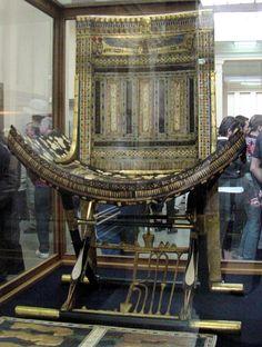 Pharaoh King Tut (Tutankhamun), Ecclesiatical Throne, Egypt. Egyptian Museum, Cairo, Egypt,