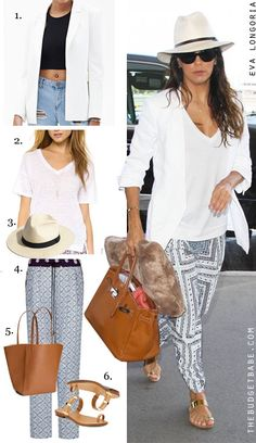 Dress by Number: Eva Longoria's Print Pants and Toe-Ring Sandals
