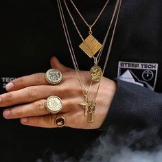 more is more in and custom gold. Photo: by hypebeast Piercings, Jewelry Accessories, Fashion Accessories, Fashion Jewelry, Skate Wear, Body Jewelry, Jewellery, Hypebeast, Fashion Addict