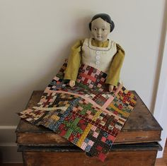 Little four patch blocks by Linda Collins of Quilts In The Barn blog