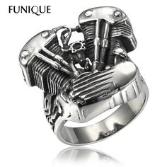 3ac96eb95e85 2016 New Cool Biker Ring men 316L Stainless Steel Rings Motorcycle Engine  Vintage Gothic Rock Punk Jewelry Men Ring