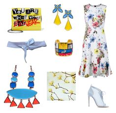 """""""Blue, red and yellow"""" by gloria-yi-qiao on Polyvore featuring Erdem, Chloe Gosselin, Kanupriya, Évocateur, Jimmy Choo and Virginie Castaway"""