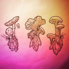 Mushroom Crystals tattoo designs by Katie Shocrylas