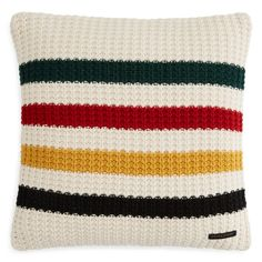 """Bold multi-color stripes enliven this chunky knit decorative pillow by Pendleton. 