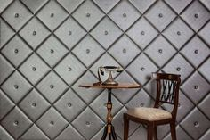 Awesome Padded Wall Panel Design As A Wall Decor Ideas : Cool Black Color Padded Wall Panel Design With Wooden Table And Chair Ideas Diy Wand, Family Wall Decor, Home Wall Decor, Room Decor, Bathroom Wall Decor, Metal Wall Decor, Padded Wall Panels, Faux Leather Walls, Wall Panel Design