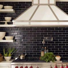 Waterworks black kitchen tile backsplash