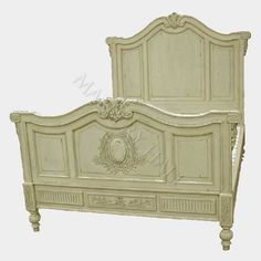 Madeline French Bed Handcarved Antique Creme