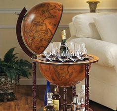 Vintage Home Pub Bar Liquor Whiskey Storage Cabinet Wine Rack Globe Mini Table Globe Bar Cart, Globe Drinks Cabinet, Home Pub, Wine And Liquor, World Globes, Wine Cabinets, Wine Storage, Cool Bars, Bars For Home
