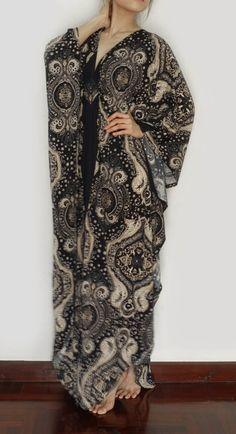 Plus Size Maxi Dress Kimono Butterfly Dark by MaxiDressWardrobe