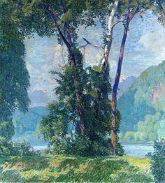Landscape Painting by American Impressionist Artist Daniel Garber, Delaware Idyll