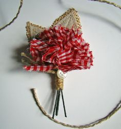 Wedding Boutonniere Red Gingham Rustic Boutonniere by TwiningVines, $12.00