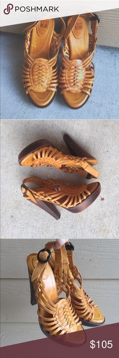 Frye woven leather mule chunky heel sandals Brand new Cognac brown/mustard yellow strappy woven huarache chunky heel #FRYE sandals. Absolutely beautiful, but unfortunately too big for me. Perfect condition w/ southwestern vintage vibes. Size US women's 7. Tags - huaraches wood wooden heels sandal freepeople Nordstrom free people fryeboots boot summer pumps frye open toe boho mule clog platform Frye Shoes Mules & Clogs