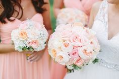 Peach accent wedding bouquet.