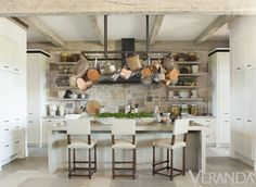 A rustic chic home of Richard Hallberg.too much stone? Rustic Kitchen, Kitchen Dining, Kitchen Decor, Kitchen Ideas, Neutral Kitchen, Kitchen Post, Country Kitchen, Copper Kitchen, Kitchen White