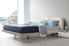 Sacco Modern Bed with Leather Headboard and White Lacquered Frame by Pianca