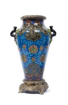 Théodore Deck (1823-1891) assigned. Vase of baluster form. Polychrome glazed ceramic decorated in Asian style with two handles applied naturalistic form and ormolu mounts to the base and neck.- #Theodore_Deck #Deck #pottery #glaze #bleu_Deck #turquoise #art_pottery #France