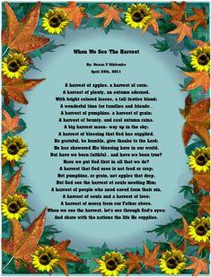 Christian Thanksgiving Poems Harvest Blessing In My
