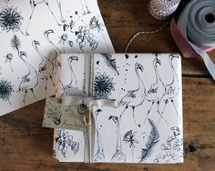 Flamingo Gift Wrap by Anna Wright