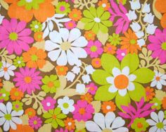 VINTAGE mod flower fabric lime pink orange flower power