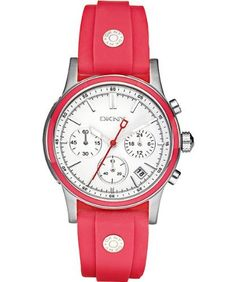 DKNY Women's NY8172 Red Silicone Quartz Watch with White Dial DKNY. $139.00