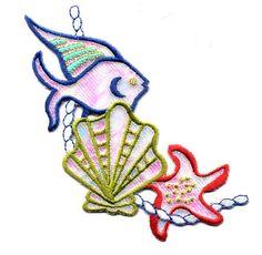 SEASHELLS/TROPICAL FISH/STARFISH IRON ON APPLIQUE