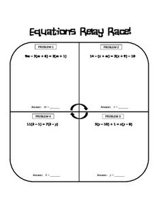 Multi-Step Equations Relay Race Activity - Gina Wilson - TeachersPayTeachers.com