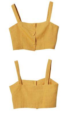 Three Button Crop Top (Yellow)   STYLENANDA