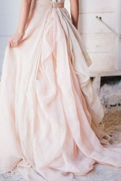 Designer Trade Chiffon Wedding Skirt with Bustle by DesignerTrade  This in peach or champagne color with the polka dot top!
