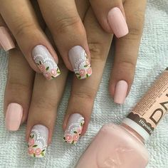 Stay current on the chicest trends in nails, Our favorite nail designs, tips and inspiration for women of every age! Rose Nails, Flower Nails, Pretty Nails, Fun Nails, Fabulous Nails, Creative Nails, French Nails, Nail Arts, Manicure And Pedicure