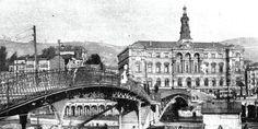 """Bilbao, ayuntamiento y puente del """"perro chico"""", desaparecido en 1937."""
