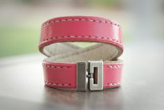 Grace Double Wrap Leather Bracelet - Womans Size M  Pink with White Inside White Contrast Stitching