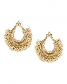 Golden Crescent Earrings with Pearls by Karigari