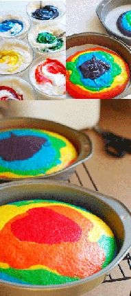 Rainbow Cake How To! I tried this in cupcakes last year for St. A cake would be sooo much easier it seems like! Yummy Treats, Sweet Treats, Yummy Food, Jednostavne Torte, Bolos Tie Dye, Köstliche Desserts, Dessert Recipes, Cake Recipes, Dessert Healthy