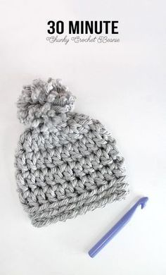 Easy Chunky Crochet Beanie - If you have 30 minutes and some chunky yarn, you can make this hat!