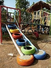 tires for play... (not sure I would want a rope there)..but cute idea for the playground!