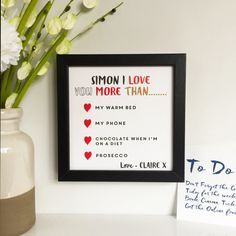 This is a are great boyfriend gift - I love you more than, Spoil your loved one at valentines with this personalised gifts that lets you say how much you love them.  Perfect for boyfriends, girlfriends, husbands, wives, or that person you just want you want to surprise and tell them that you love them. Perfect for those with a sense of humour that you love to have a joke with but also great for those more doting in love.  Have fun and let them know the things you love them more than, warm…